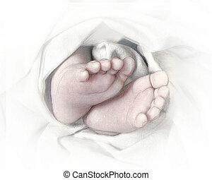 pieds bébé, croquis, crayon