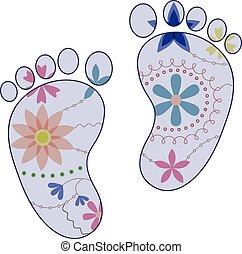 pieds bébé, peint, silhouettes, vendange, garçon