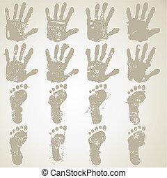 pieds, caractères, collection, main