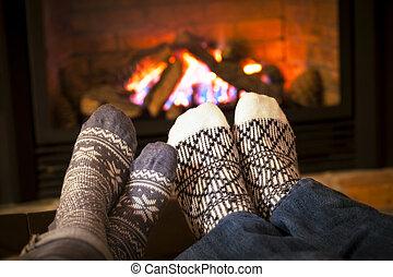 pieds, cheminée, chauffage