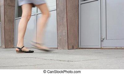 pieds, dépassement, gens
