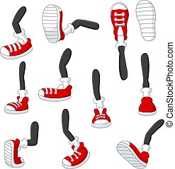 pieds, dessin animé, positions, rouges, crosse, marche, divers, jambes, espadrilles