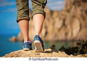 pieds, espadrilles, femme, tourism.