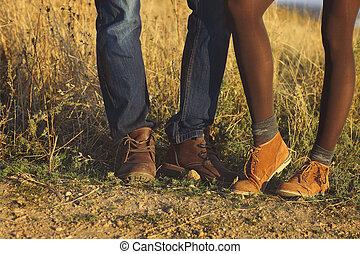 pieds, femme, amour, romantique, nature, saison, couple, automne, extérieur, fond, homme