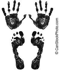 pieds, impression, mains