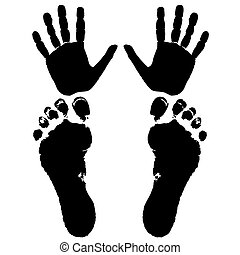 pieds, main