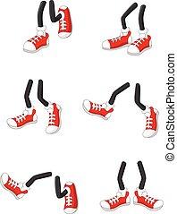 pieds, marche, jambes, crosse, dessin animé