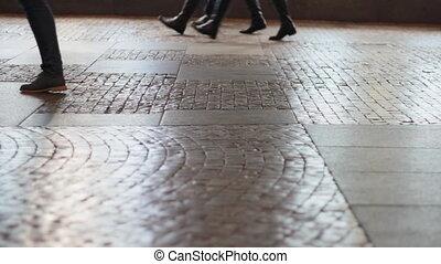 pieds, marche, trottoir