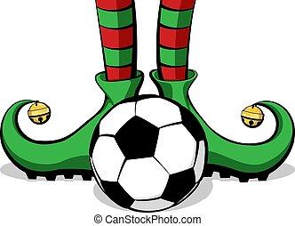 pieds, ou, noël, football, football, elfe