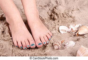 pieds, sable, enfant