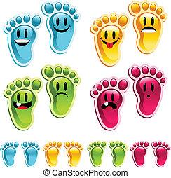 pieds, smiley, heureux