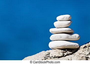 pierre, équilibre, pile