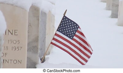 pierre, américain, tombe, drapeau