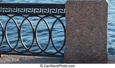 pierre, balustrade, fer, barrière, pont, vieux, moule