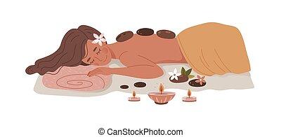 pierre chaude, femme, masage