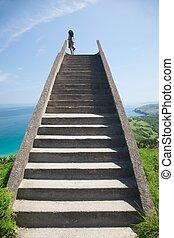 pierre, ciel, escalier