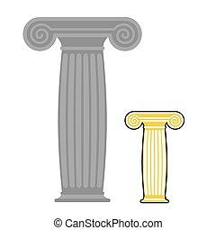 pierre, column., poste, grec, vieux, ancien, élevé, vecteur, illustration.