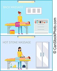 pierre, ensemble, dos, chaud, vecteur, méthode, masage