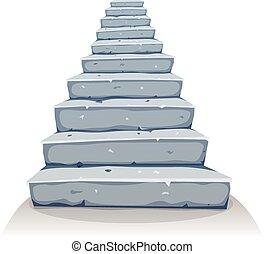 pierre, escalier, dessin animé