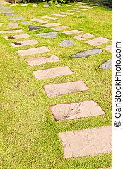 pierre, herbe, vert, jardin, walkway