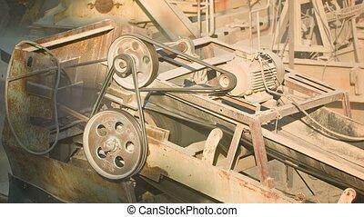 pierre, industriel, vieux, poussiéreux, machinery., rouillé, action, broyeur