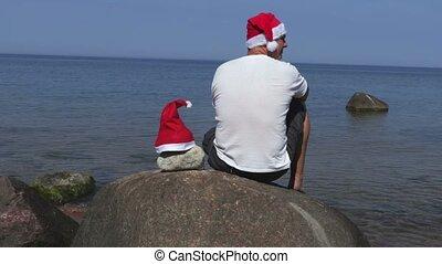 pierre, mer, claus, santa chapeau, homme