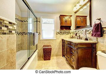pierre, naturel, tuiles, salle bains, bois, cabinet., gentil