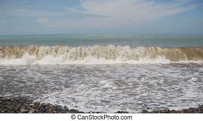 pierre, plage., sea., orage, vagues, rouler, caillou