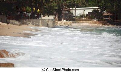 pierre, plage., vagues, rouler, caillou, 1920x1080