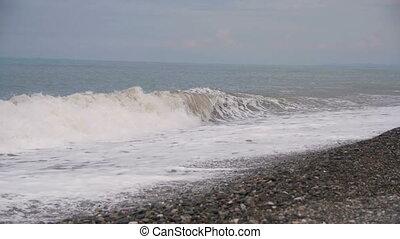 pierre, ralenti, plage., sea., orage, vagues, rouler, caillou