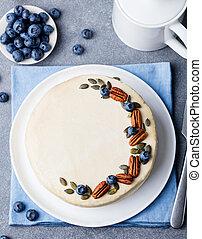pierre, sain, sommet, gris, nourriture., arrière-plan., carotte, vue., cake.