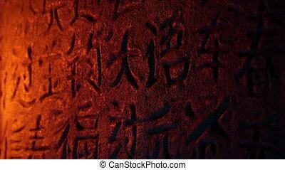 pierre taille, brûler, chinois, lumière, écriture