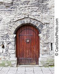 pierre, vieux, arqué, bois, wall., porte