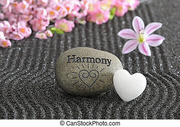 pierre, zen jardin, harmonie