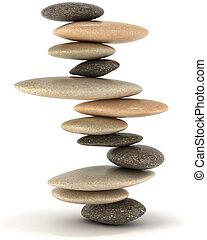 pierre, zen, tour, stabilité, équilibré