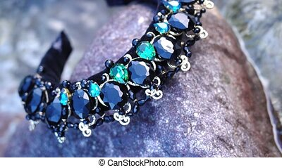 pierres, beau, couronne, cheveux, eau, ruisseau