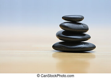 pierres, bois, zen, surface