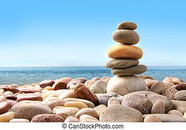 pierres, caillou, blanc, pile