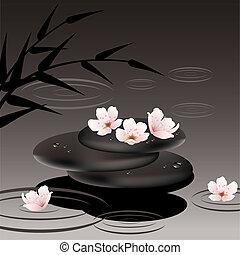 pierres, cerise, fleurs, vecteur, zen