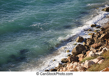 pierres, clair, mer jaune, sauvage, plage