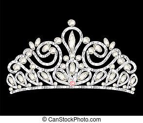 pierres, couronne, femmes, mariage, blanc, diadème