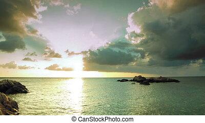 pierres, défaillance, coucher soleil, mer, temps