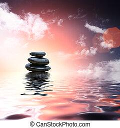 pierres, eau, refléter, zen, fond