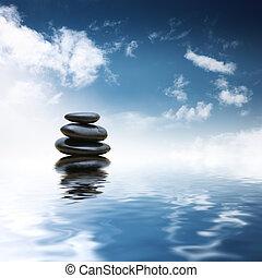 pierres, eau, sur, zen