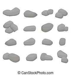 pierres, ensemble, grand, gris, firewood., collection