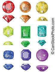 pierres, précieux, ensemble
