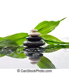 pierres, pyramide, feuilles, zen, surface, vert, sur, waterdrops