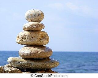 pierres, pyramide, mer
