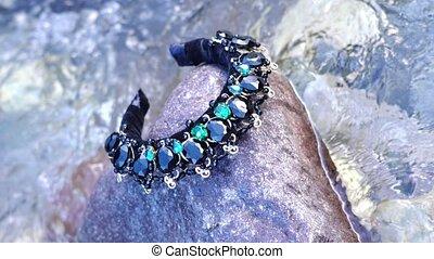 pierres, ruisseau, eau, cheveux, couronne