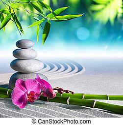 pierres, sable, masage, orchidée